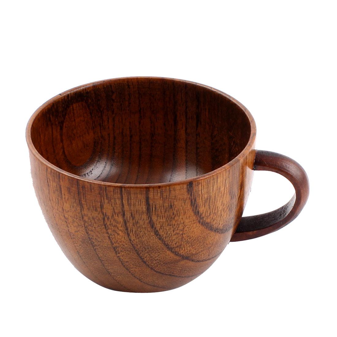 95mm Diameter Wooden Handle Home Water Tea Milk Coffee Drinking Mug Cup Brown
