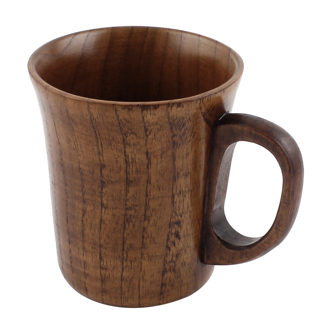 "Wooden Handgrip Home Water Tea Milk Coffee Beer Drinking Mug Cup Brown 4"" Height"