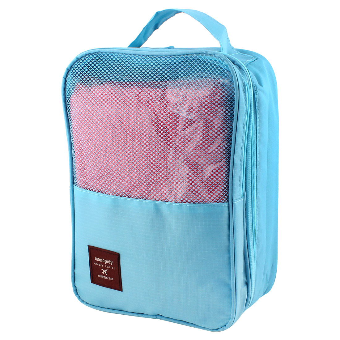 Sky Blue Portable 3 Layers Shoes Storage Folding Pouch Bag Case Organizer Keeper
