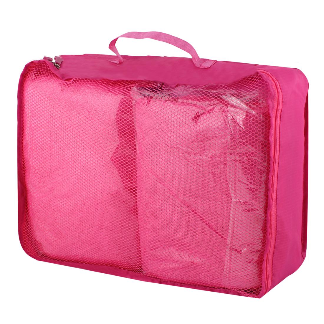 Fuchsia Portable Folding Underwear Bra Sock Clothes Organizer Storage Pouch Bag Handbag 40cm x 30cm x 13cm