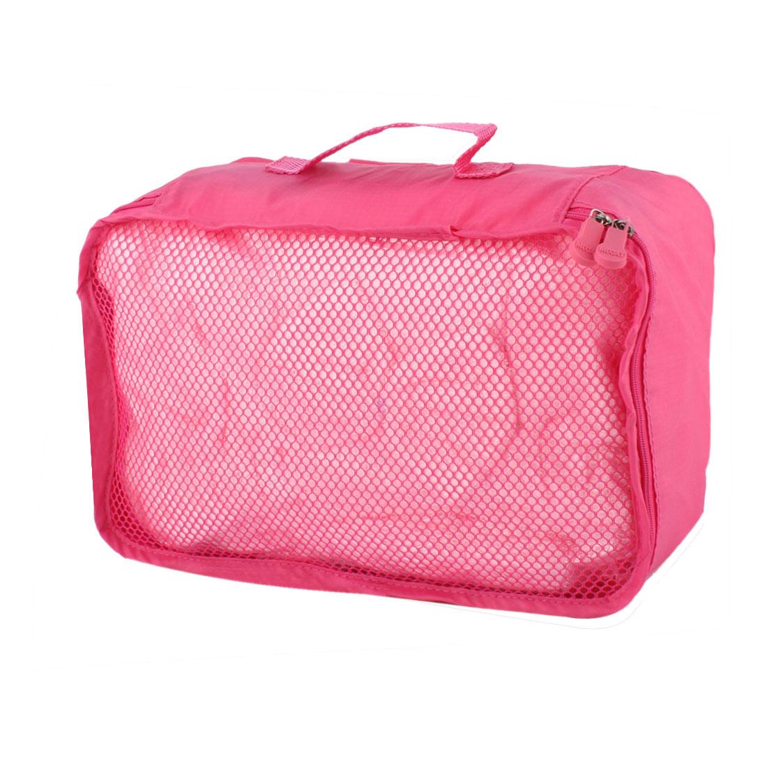 Fuchsia Portable Folding Underwear Bra Sock Clothes Organizer Storage Pouch Bag Handbag 27cm x 18cm x 12cm