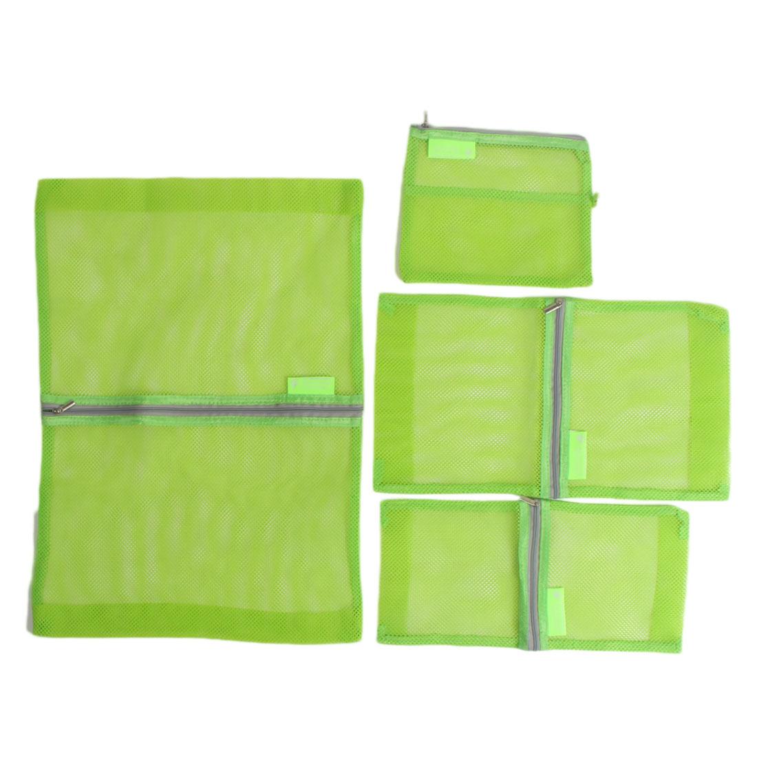 4 in 1 Clothes Underwear Storage Mesh Packing Pouch Luggage Organizer Bag Green