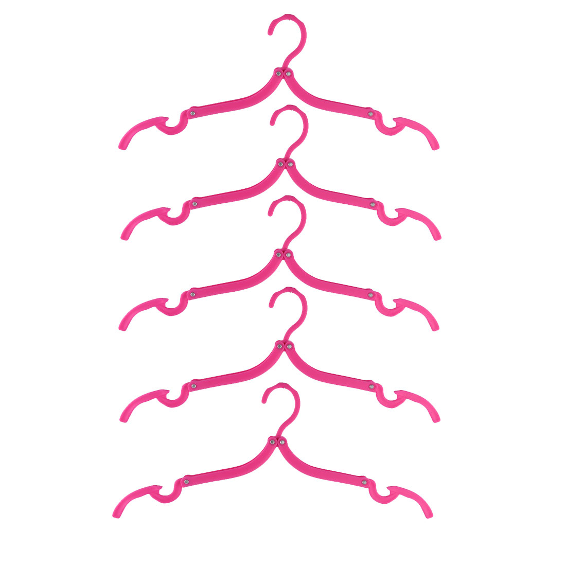 Fuchsia Portable Business Outdoor Plastic Clothes Shirt Hanger Hook Folding Drying Rack 5pcs