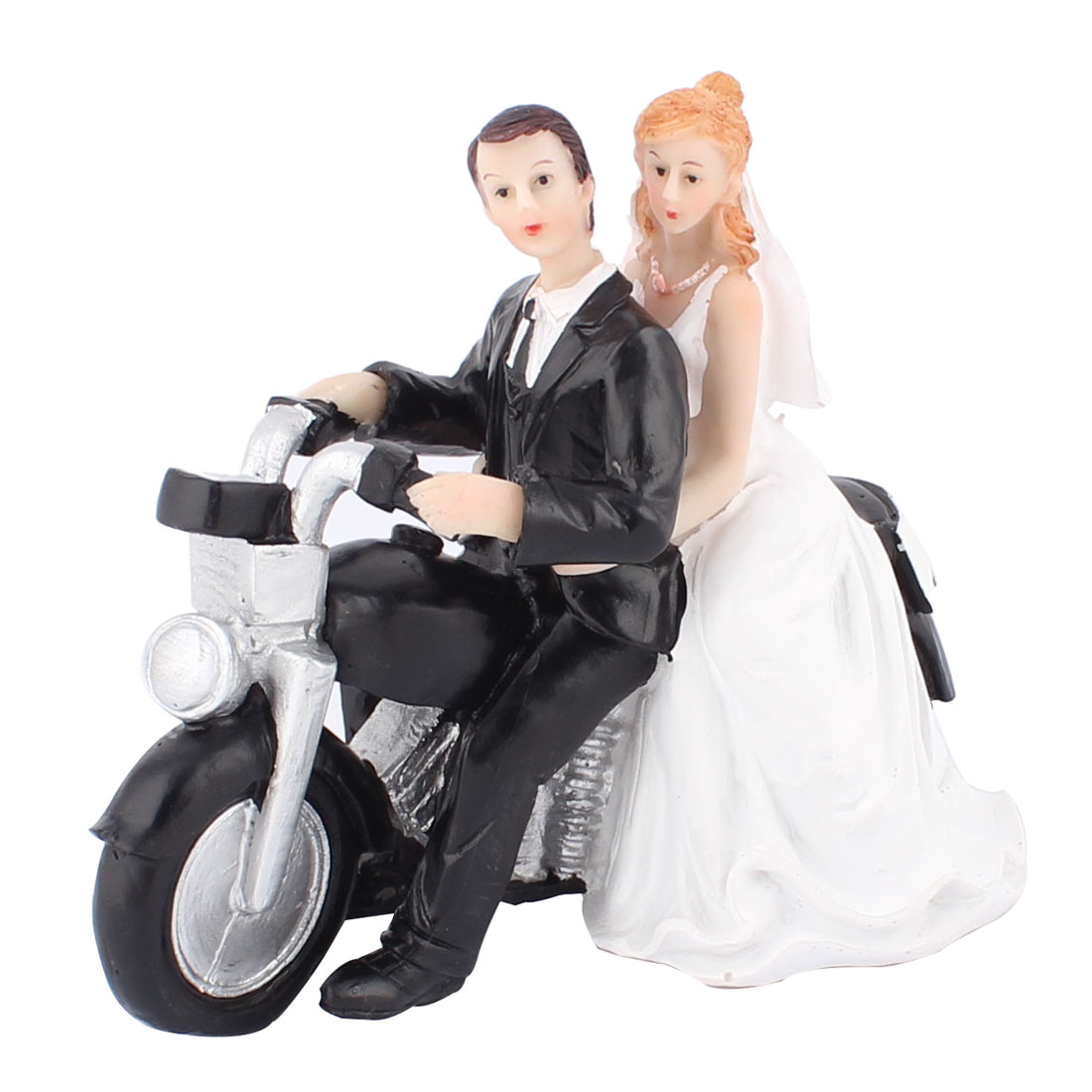 Bride Groom Motor Couple Figurine Wedding Cake Topper Decoration Gift Favor