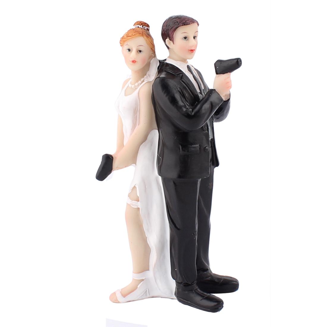 Gun Bride Groom Couple Humor Favor Figurine Wedding Cake Topper Decoration Gift