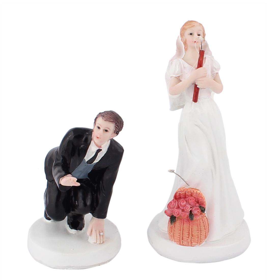 Fishing Couple Groom Bride Humor Figurine Wedding Cake Topper Decoration Gift
