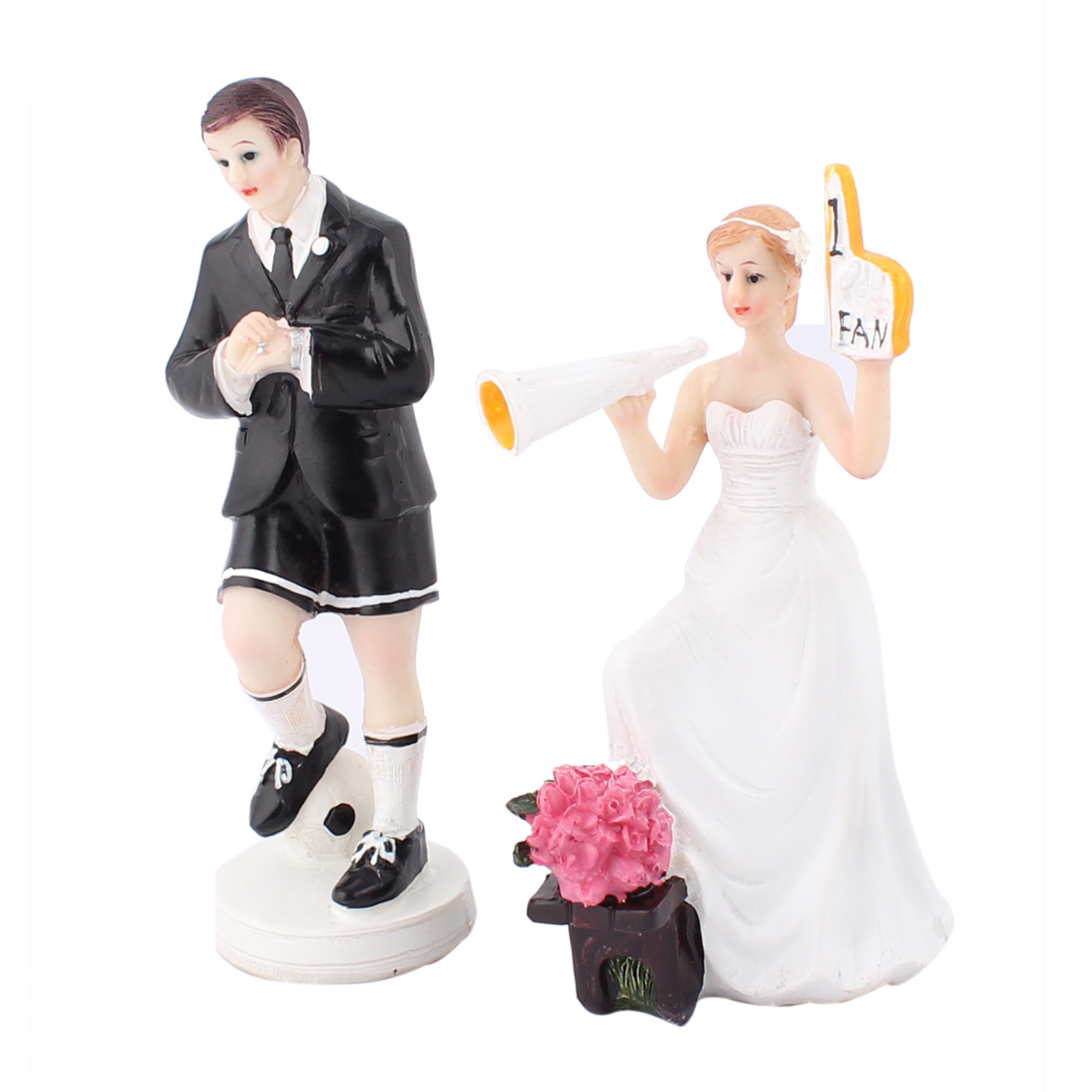 Soccer Player Groom Cheering Bride Figurine Wedding Cake Topper Decoration Gift