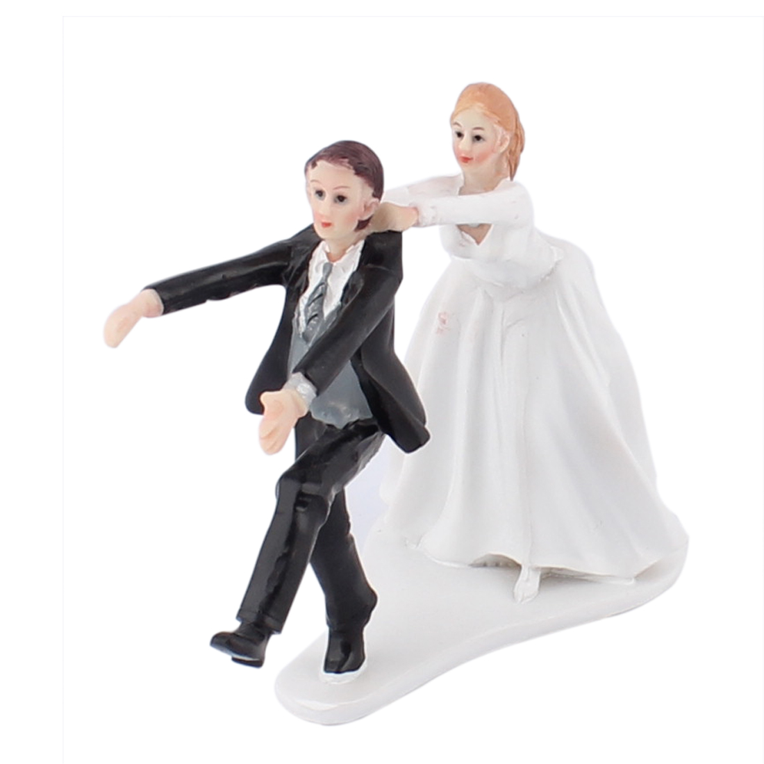 Bride Catching Groom Couple Humor Figurine Wedding Cake Topper Decoration Gift