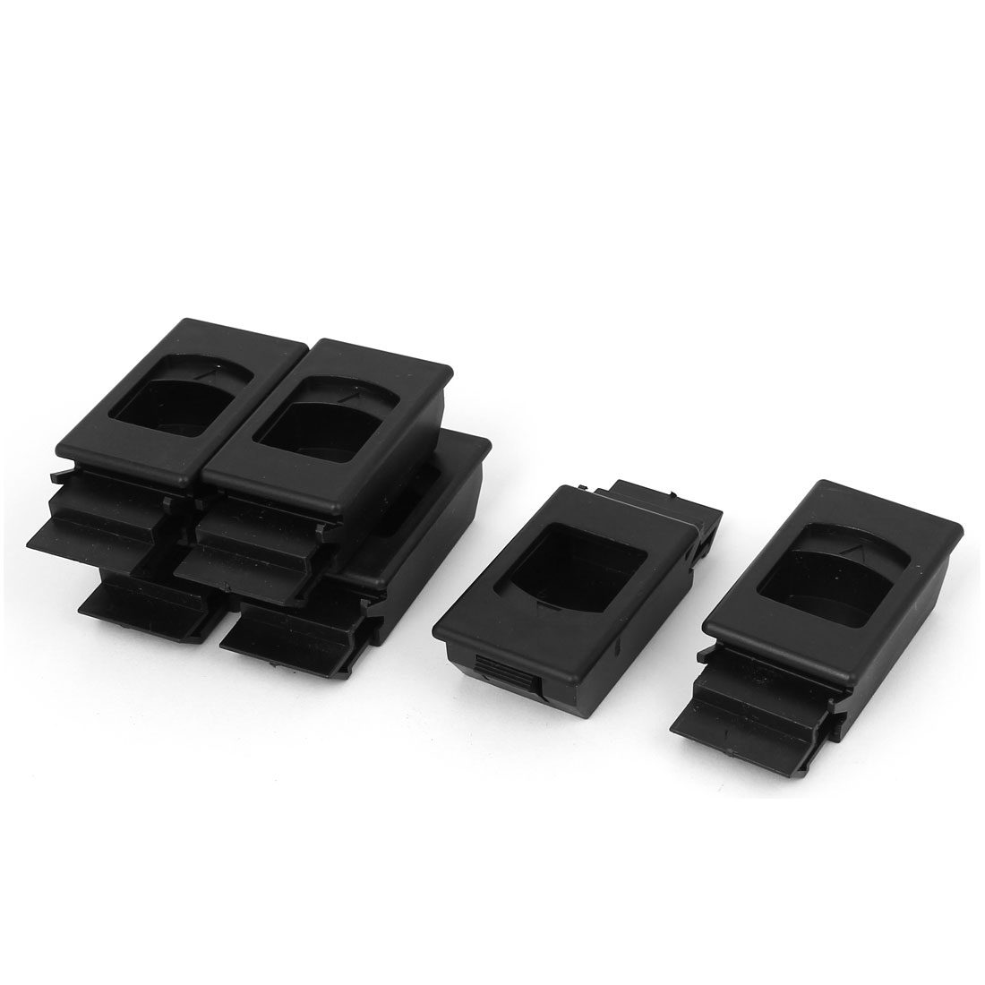 Plastic Inside Pull Rectanglar Slide Latch Black 6pcs for Cabinet