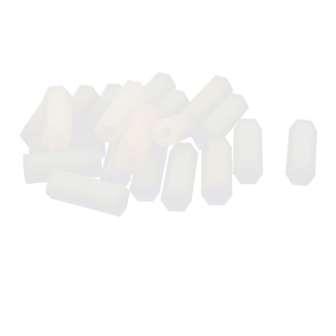 20 x 4mm M4 Female Thread White Nylon PCB Spacer Hex Stand-Off Pillar Nut 20Pcs