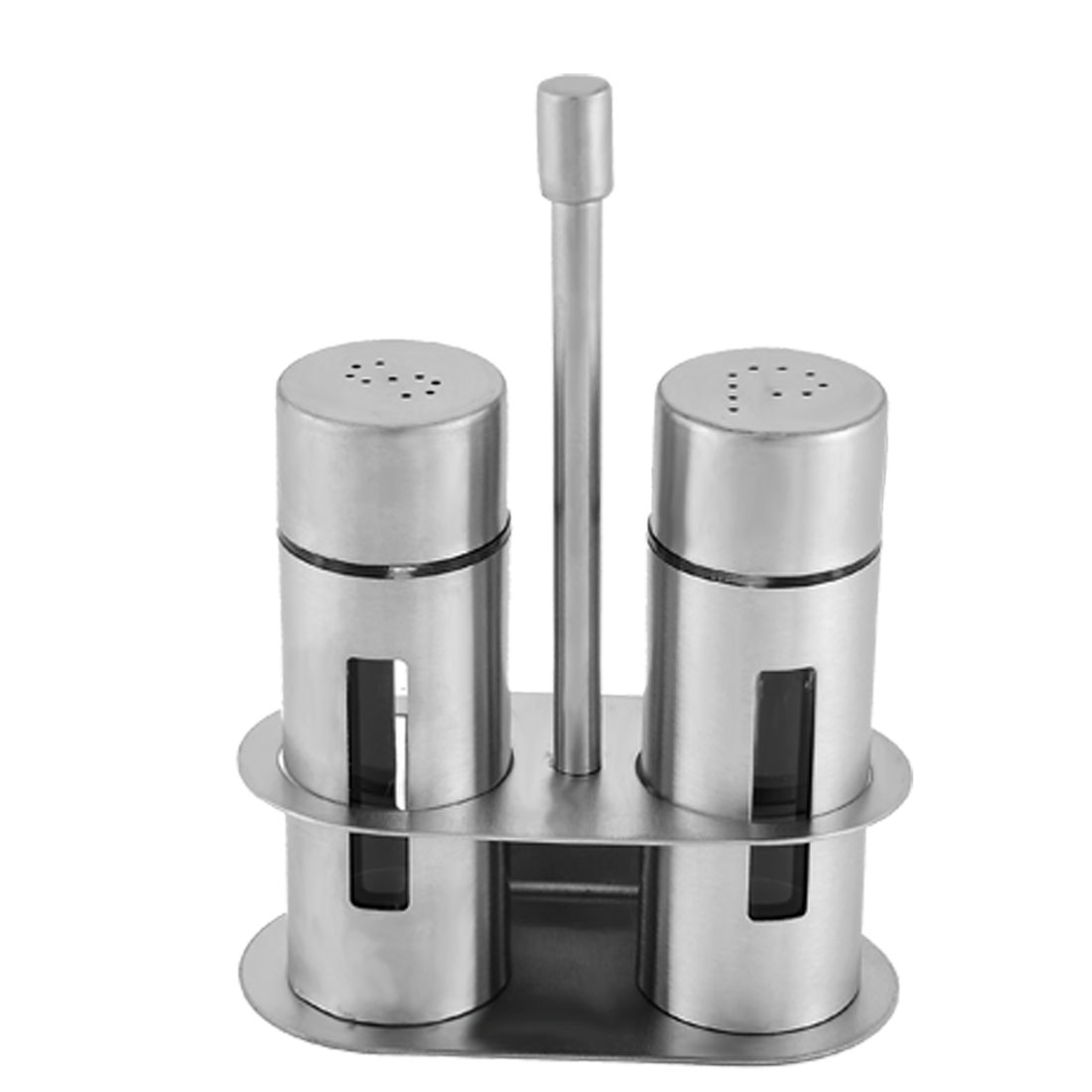 Home Kitchen Stainless Steel Shell Pepper Spice Shaker Bottle Rack Set 3 in 1