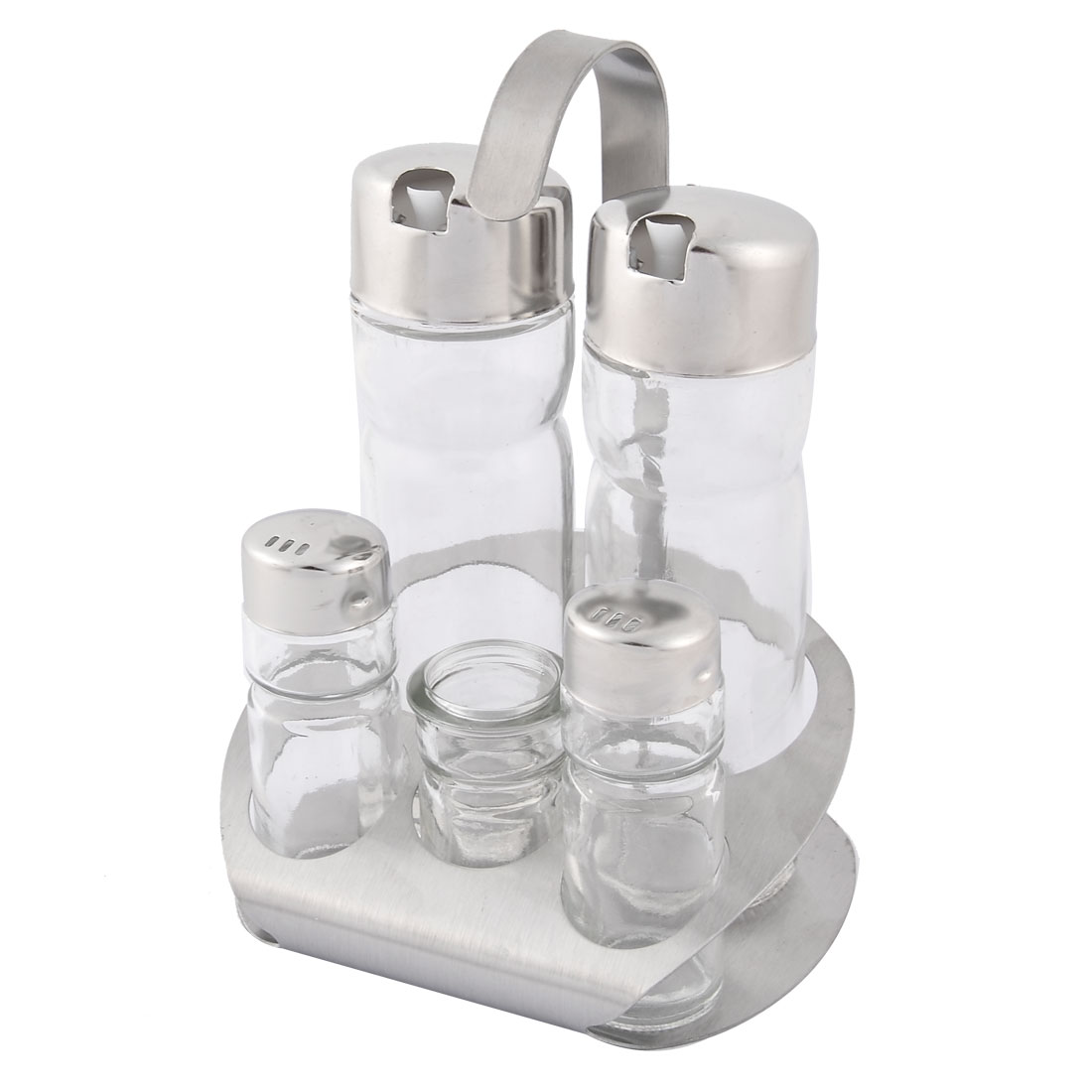 Home Kitchen Metal Lid Glass Salt Spice Pepper Sugar Condiment Bottle Set 5 in 1