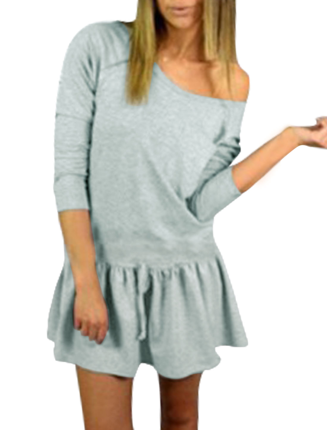 Women Scoop Neck Raglan Sleeves Drawstring Waist Mini Dress Gray XS