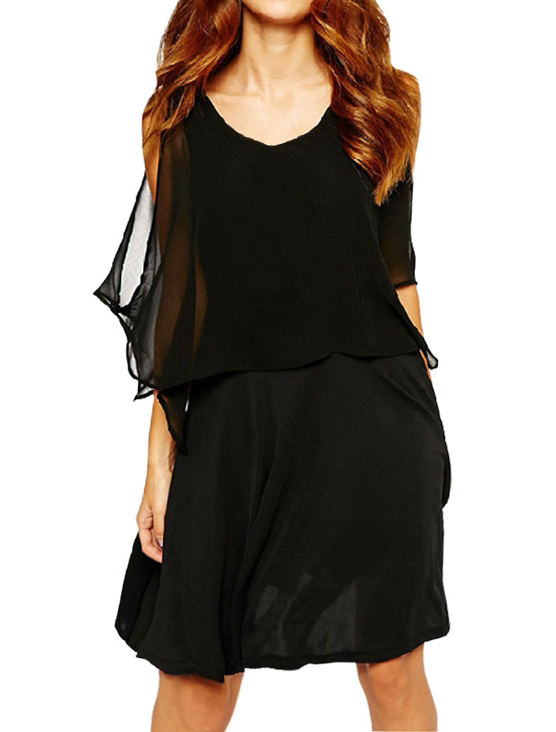 Women Open Back Overlay Upper Paneled Layered Tunic Top Black M