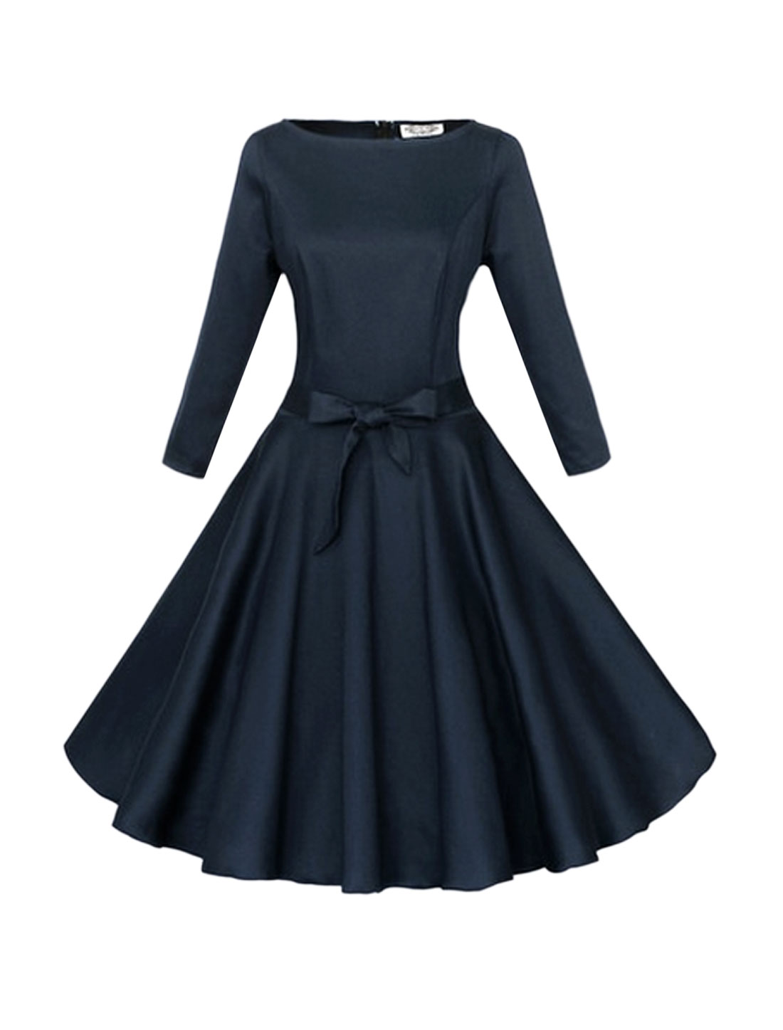 Women Boat Neck 3/4 Sleeves Self Tie Belt Swing Dress Blue L