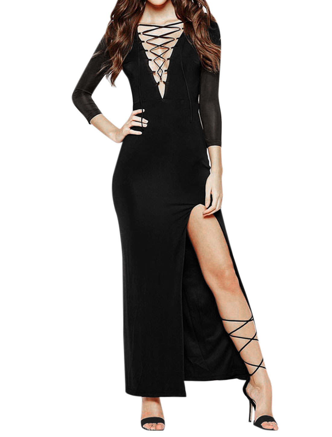 Women Lace Up Front Side Split Mesh Panel Maxi Dress Black L