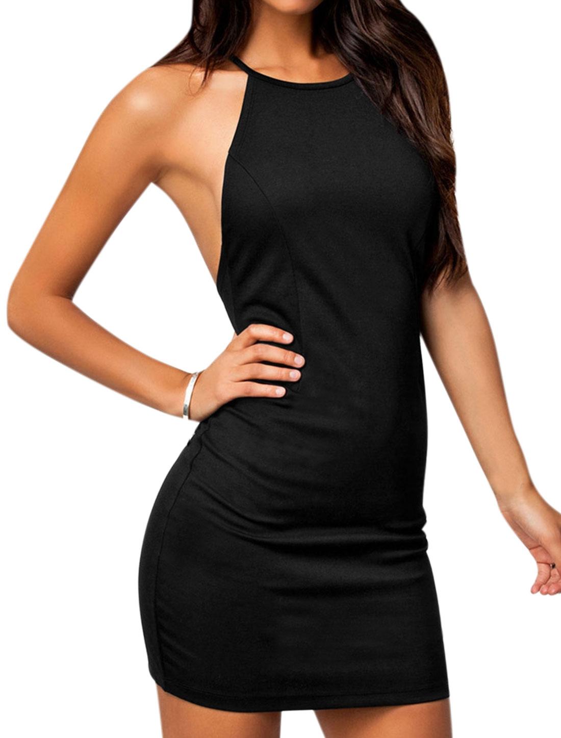 Women Halter Neck Cross Back Bodycon Mini Dress Black M