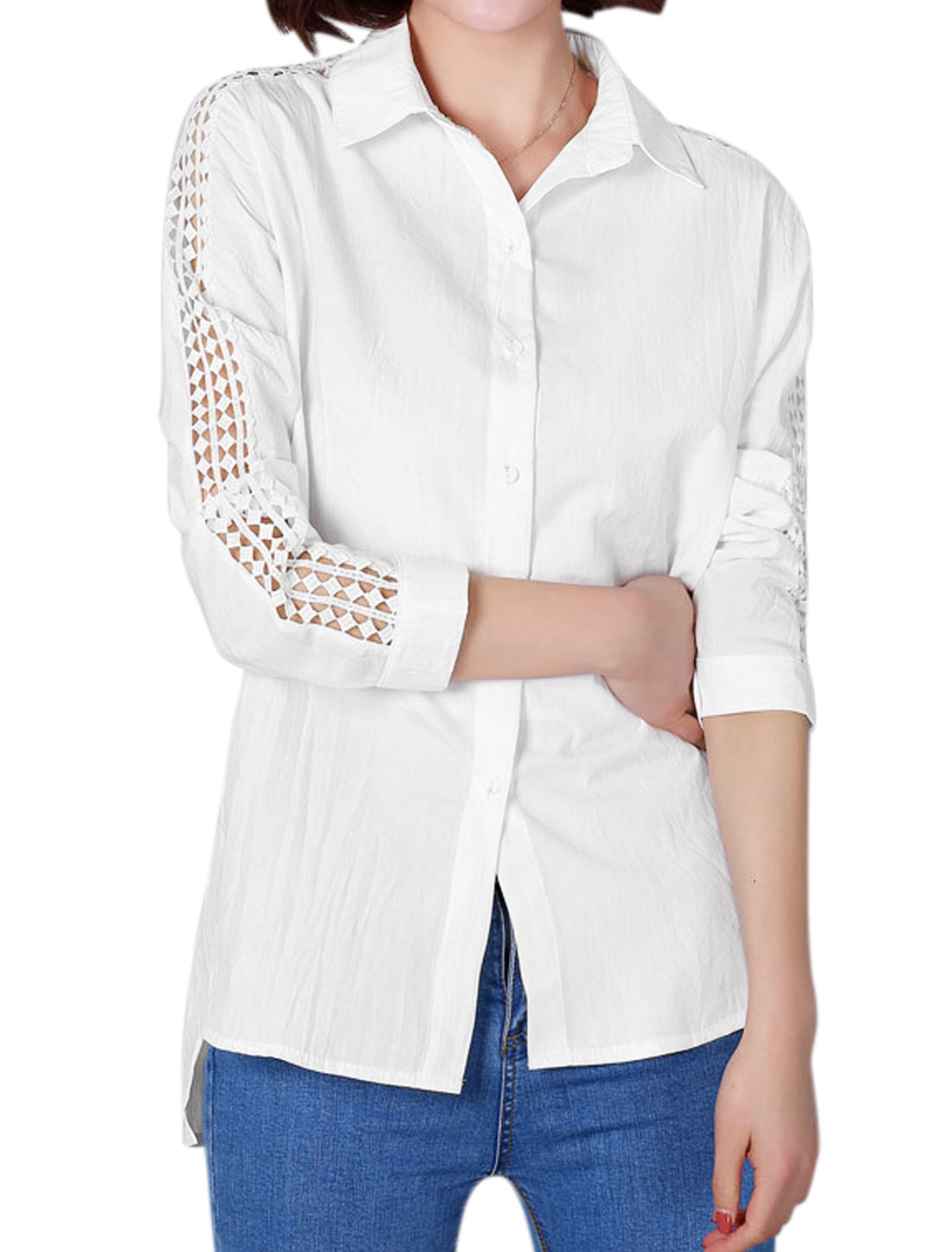 Women Hollow Out Sleeves Paneled High Low Tunic Shirt White M