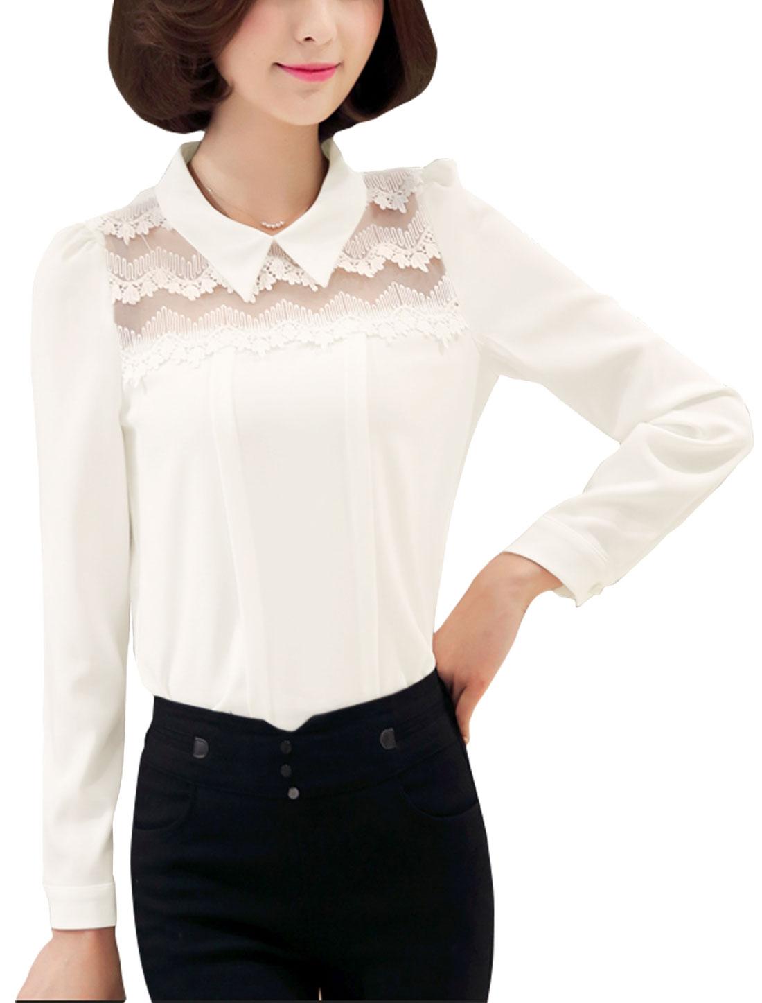 Women Long Sleeves Collared Semi Sheer Crochet Panel Blouse White M