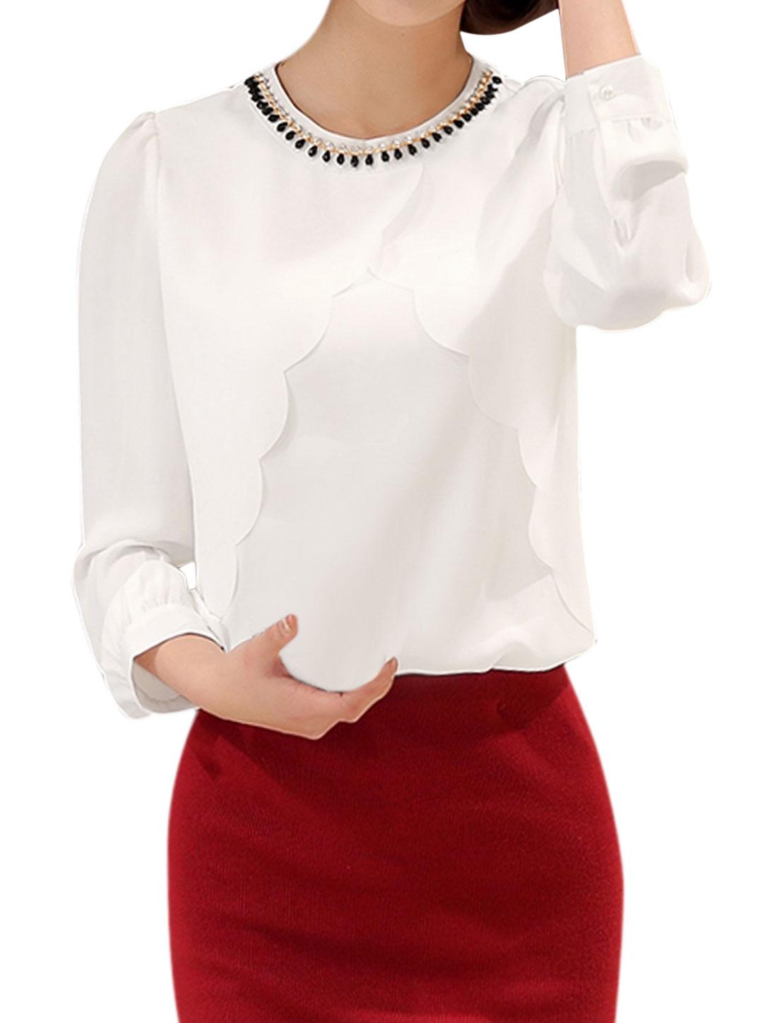 Women Rhinestones Decor Scalloped Overlay Front Blouse White M