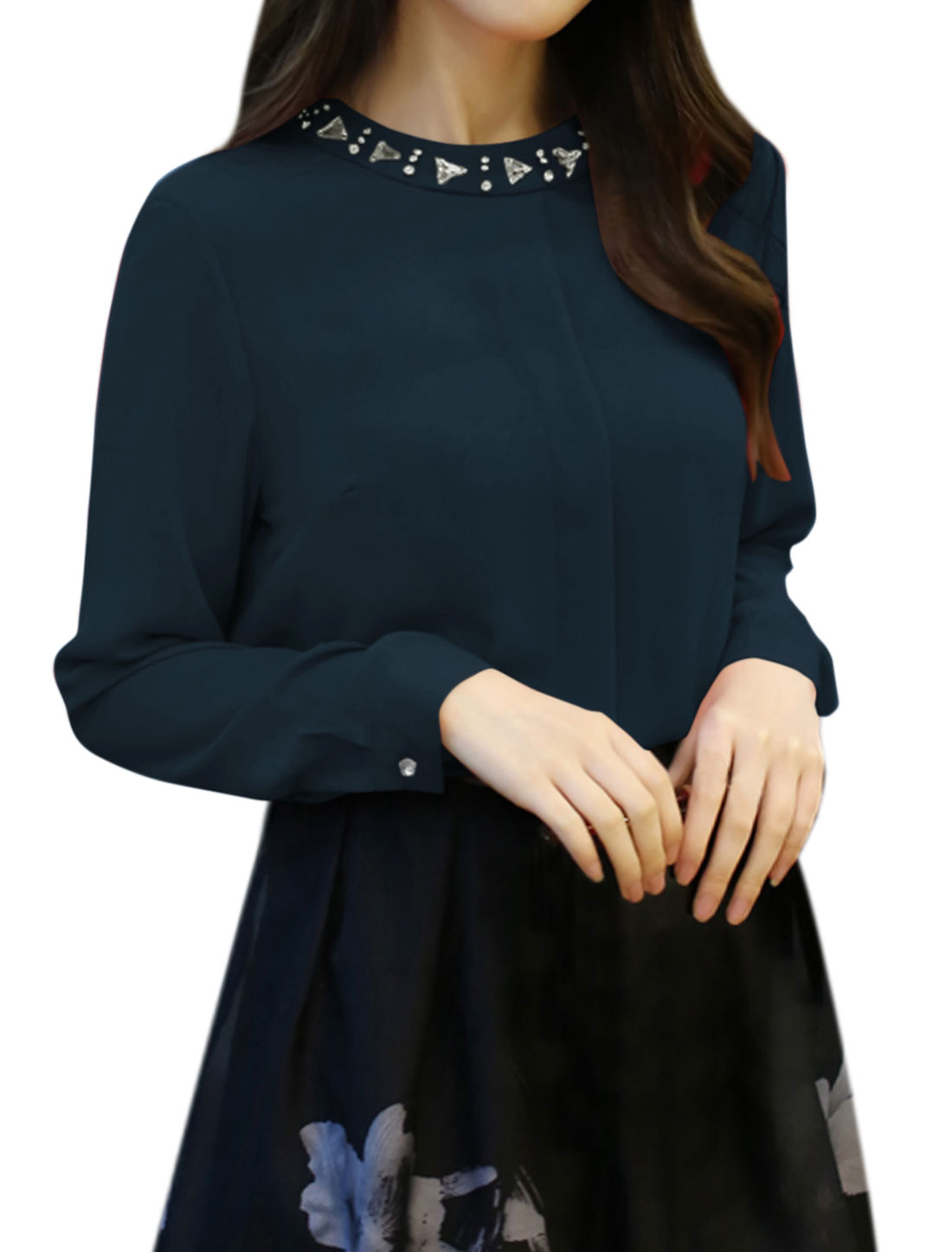 Women Long Sleeves Crew Neck Rhinestone Decor Casual Blouse Blue L
