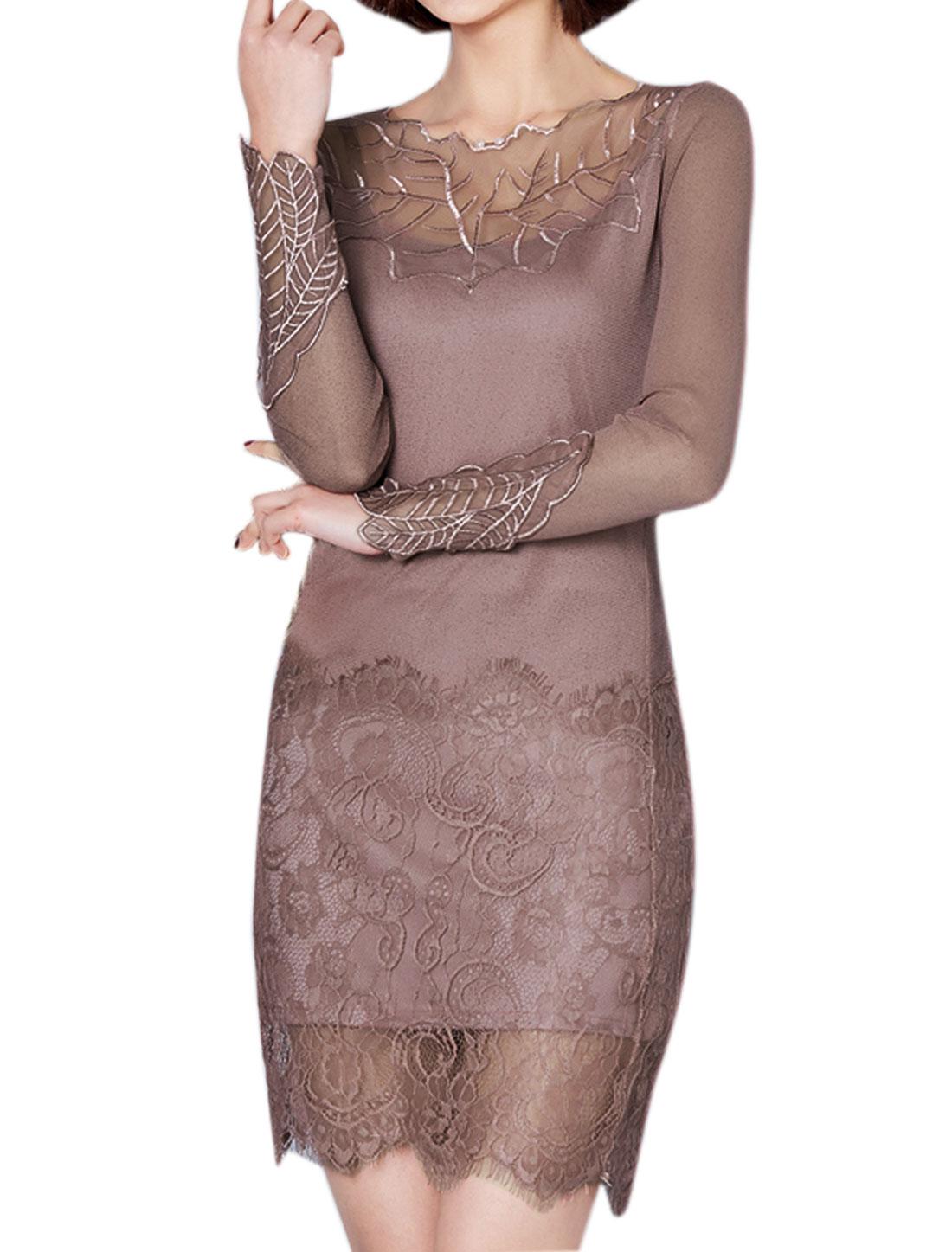 Women Leaf Embroidered Mesh Floral Lace Panel Sheath Dress Purple M