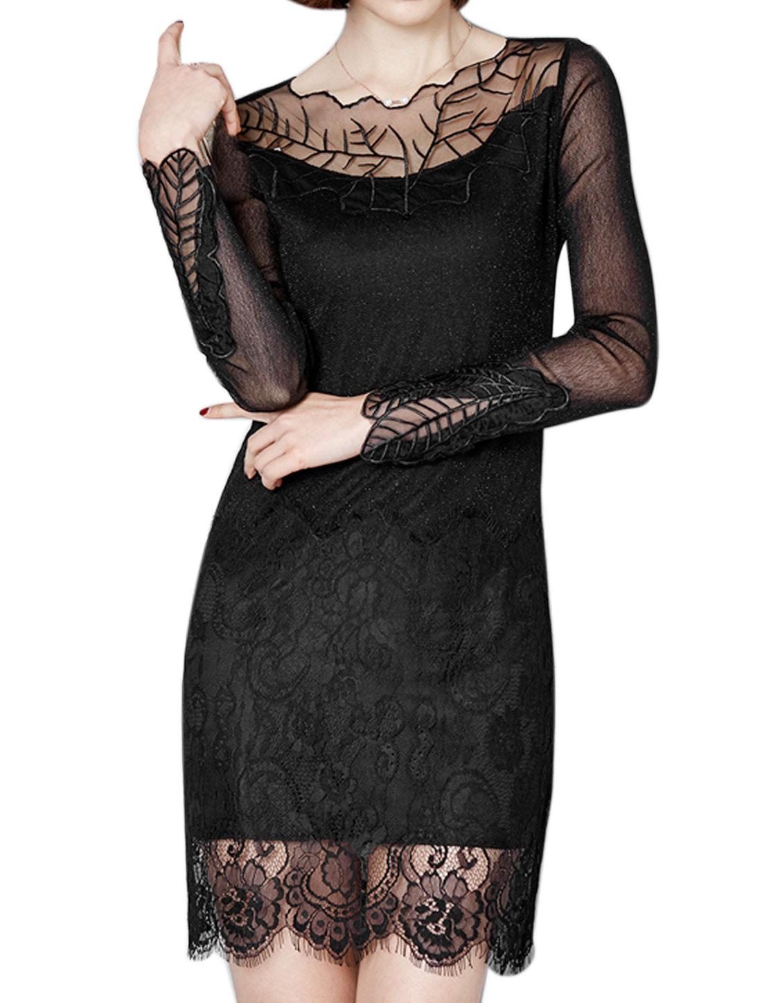 Women Leaf Embroidered Mesh Floral Lace Panel Sheath Dress Black M