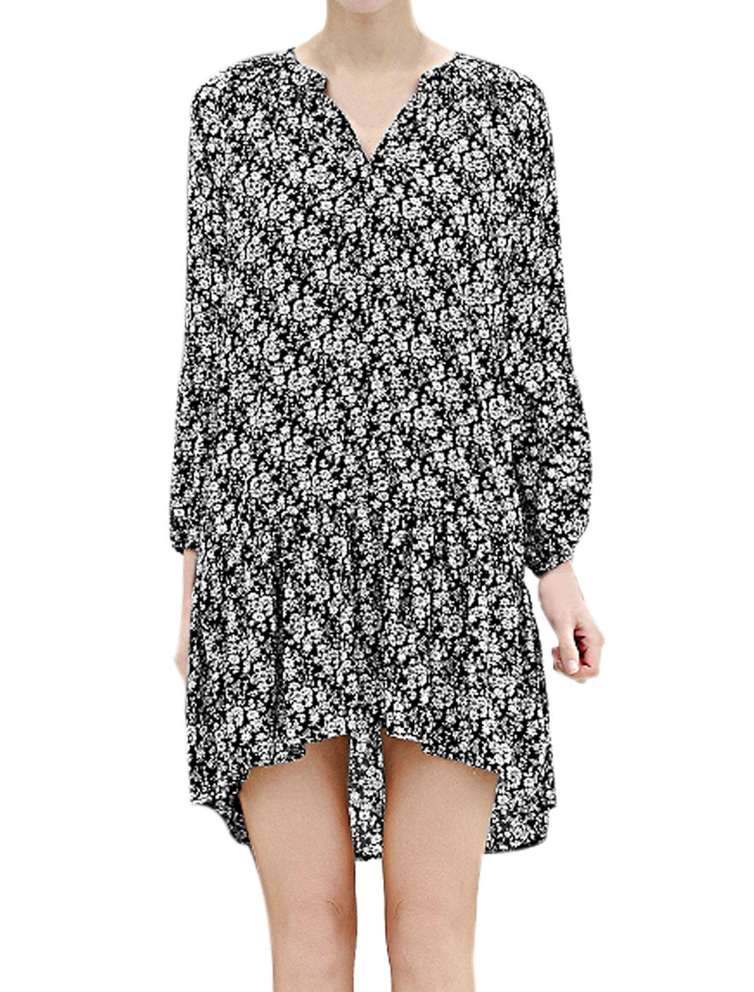 Women Flouncing High Low Hem Loose Floral Tunic Dress Black L