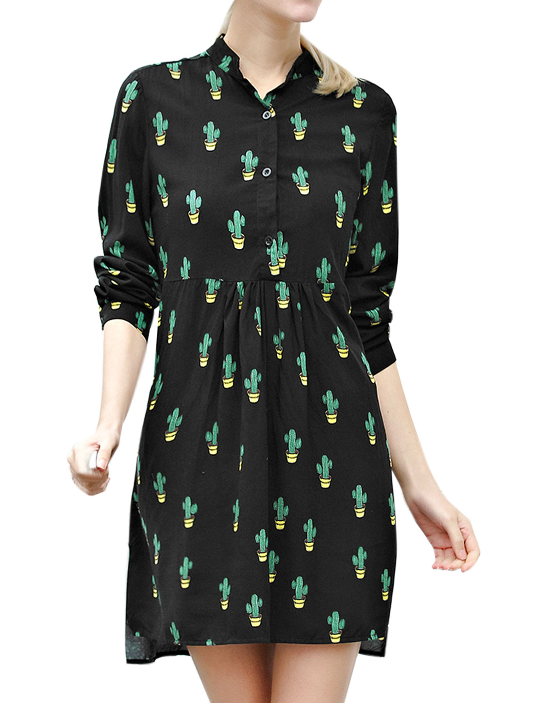 Women Half Button Closure Cactus Print Tunic Dress Black L