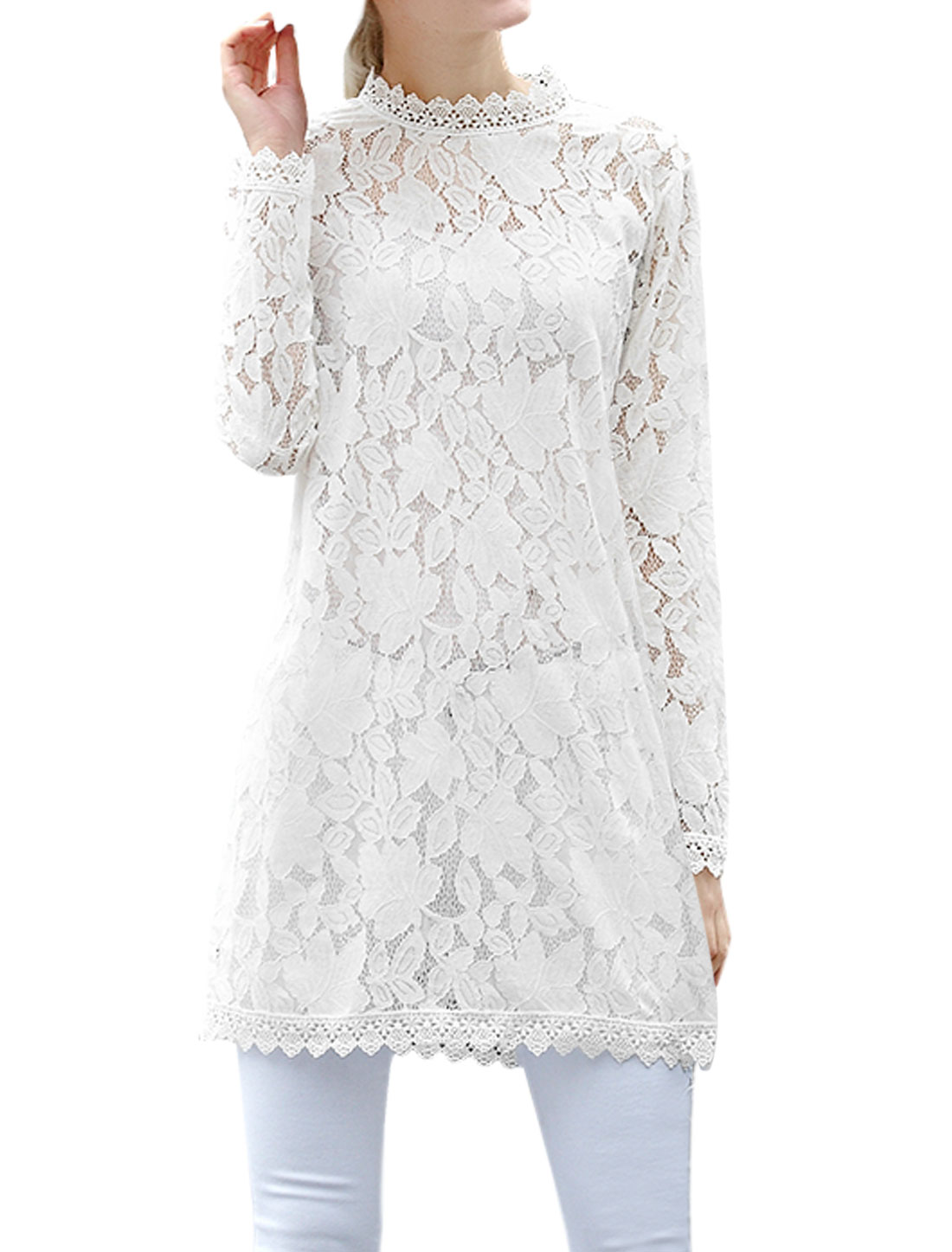 Women Crochet Panel See Through Lace Tunic Dress White L