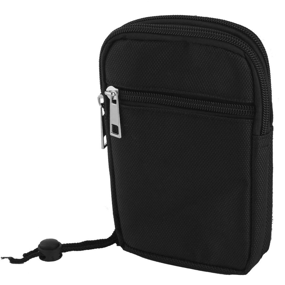 Man Phone Wallet Card Portable Holder Three Pockets Waist Bag Case Black