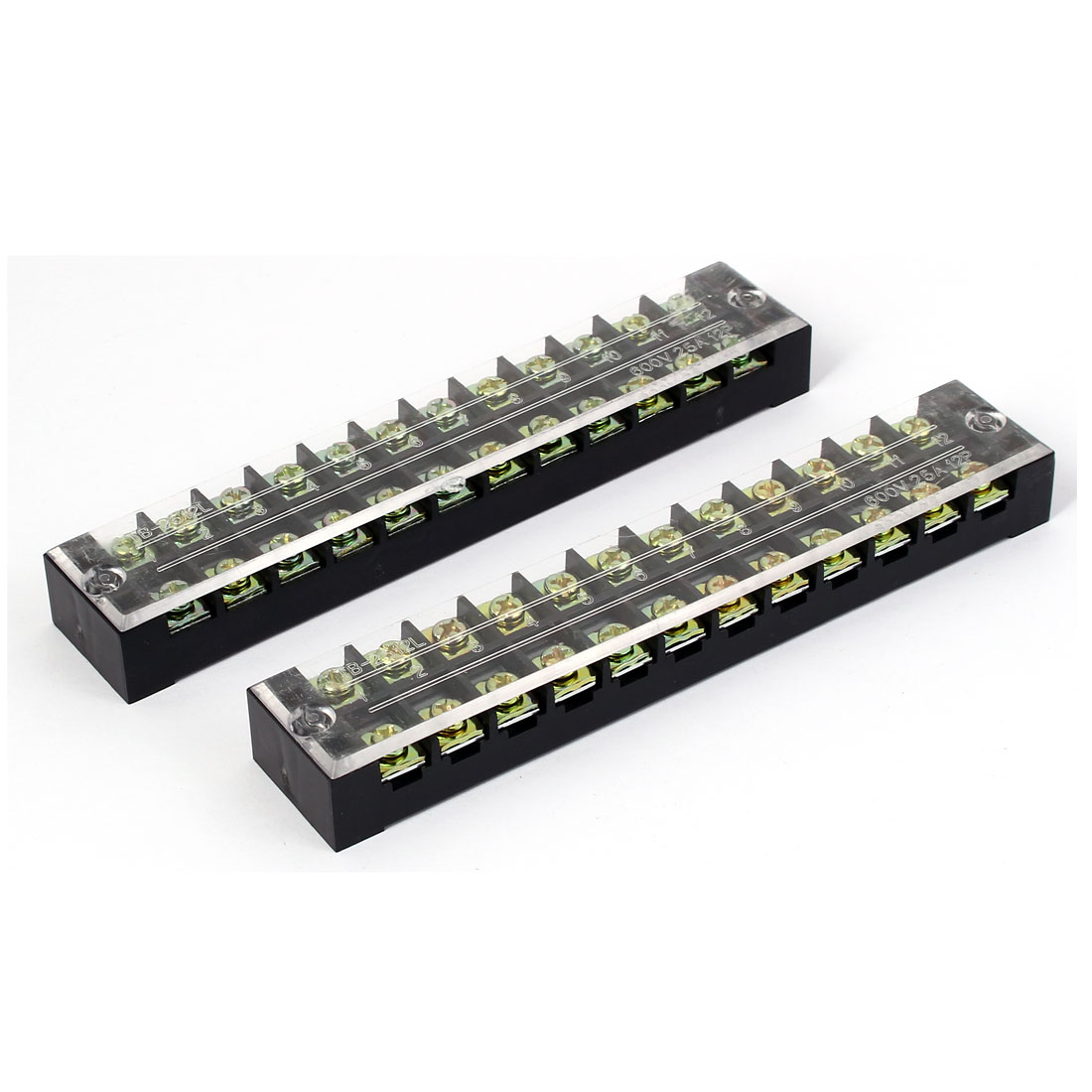 600V 25A 12 Positions Dual Raw Electric Wire Barrier Screw Terminal Block 3pcs