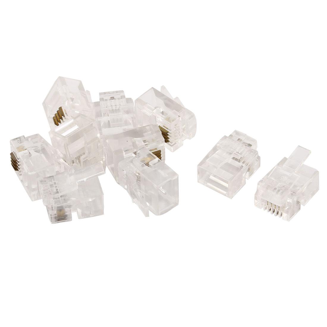 Crystal Head RJ11 4P4C Adapter Connectors Crimp End Clear 10 PCS