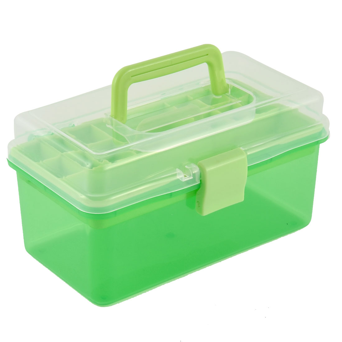 15 Compartments Dual Layers Cosmetics Sundries Organizer Storage Box Green