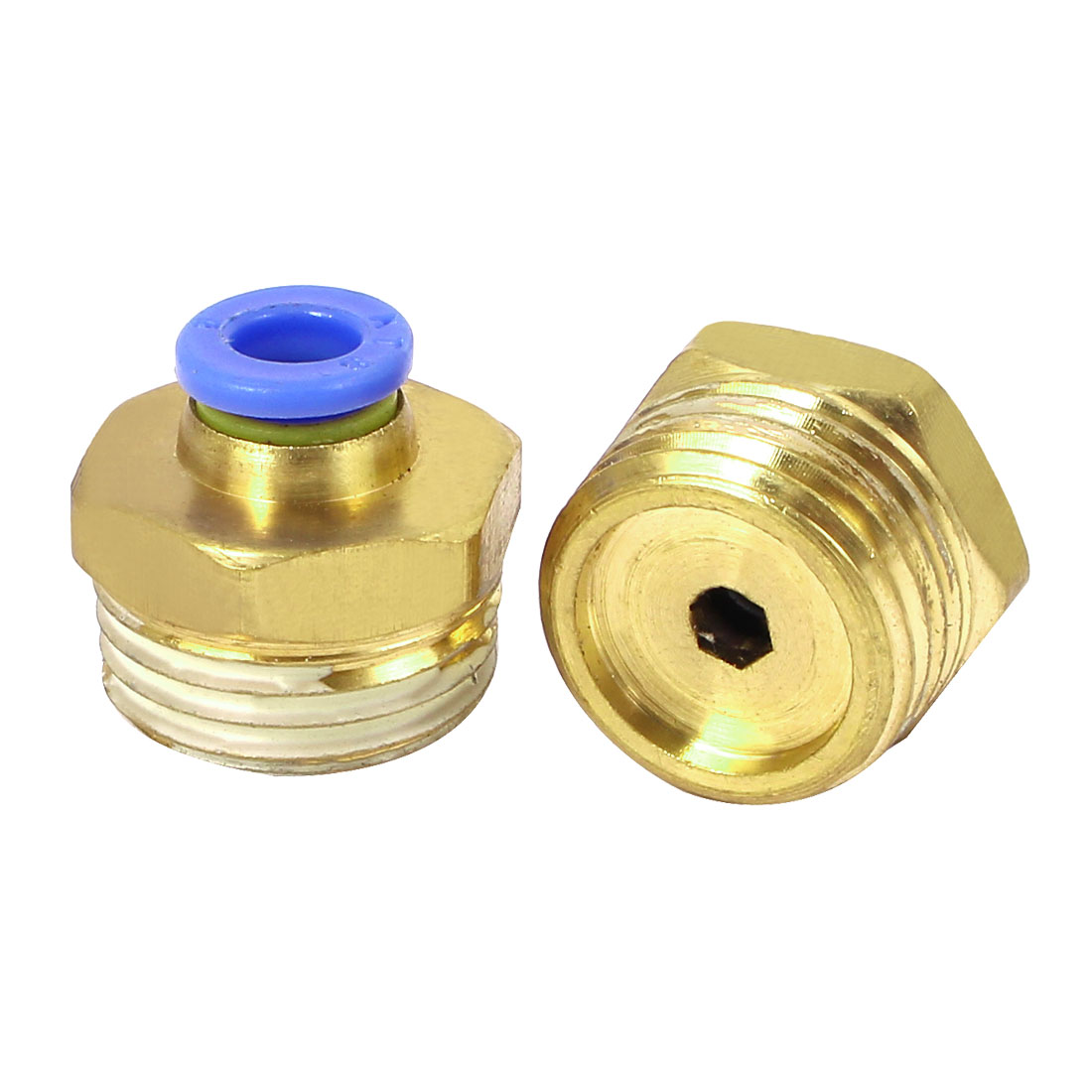 20mm Dia Male Thread Industry Pipe Tube Quick Connecting Fittings 2pcs