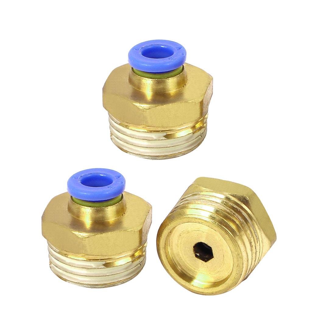 20mm Dia Male Thread Industry Pipe Tube Quick Connecting Fittings 3pcs