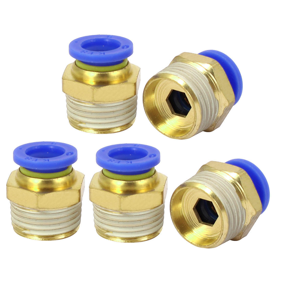 16mm Dia Male Thread Industry Pipe Tube Quick Connecting Fittings 5pcs