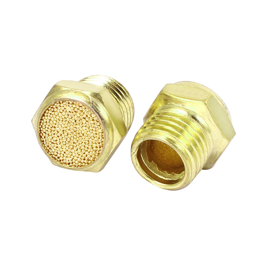 1/4BSP Flat Head Pneumatic Air Breather Muffler Noise Reduce Exhaust 2pcs