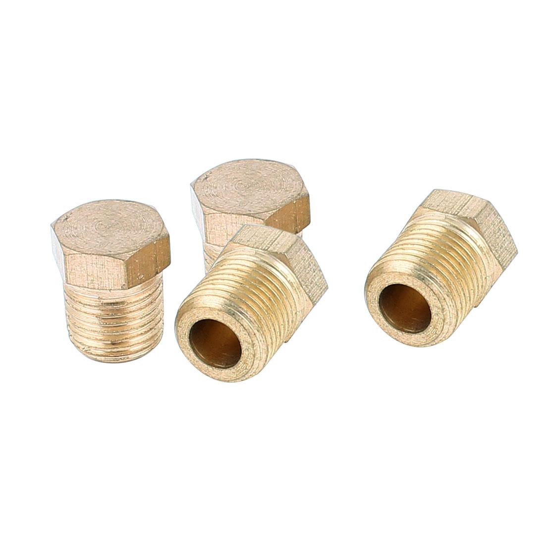 1/8BSP Male Thread Dia Brass Internal Hex Head Pipe Connector Gold Tone 4pcs