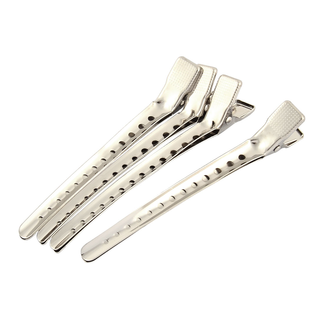 Woman Barber Shop Updos Alligator Hair Clip Prong Tamer Sliver Tone 4 Pcs