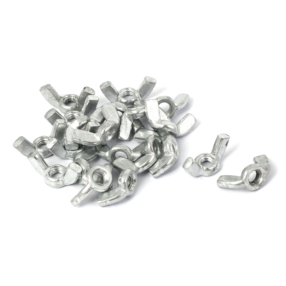 M5 Metal Female Thread Wing Nut Hardware Fasteners Silver Tone 20pcs