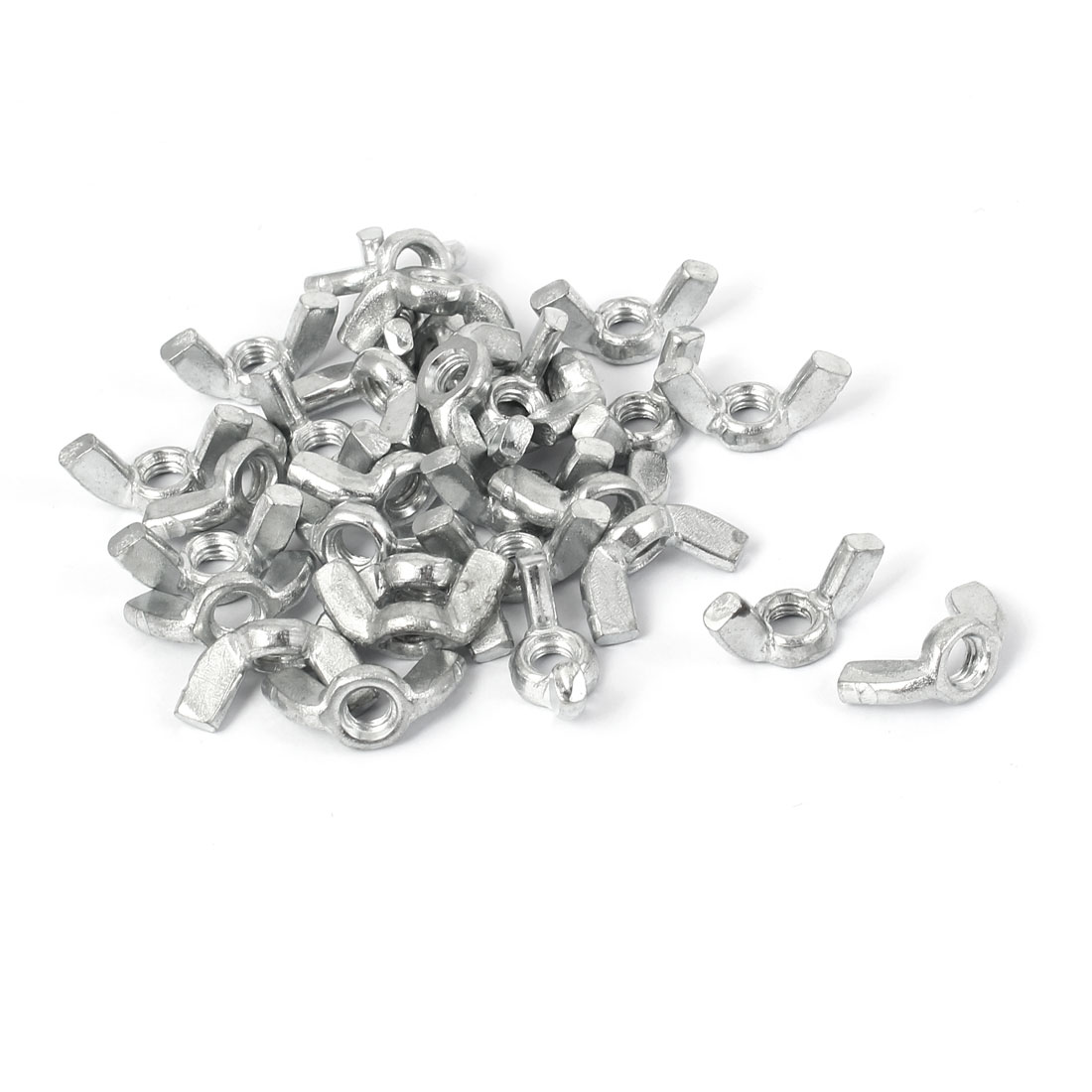 M5 Female Thread Metal Wing Nut Hardware Fasteners Silver Tone 30pcs