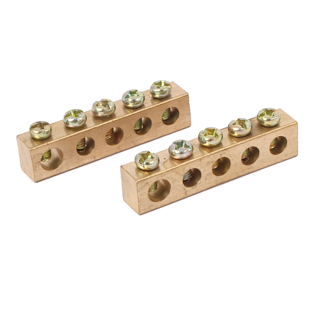 5 Holes Electrical Wire Screw Terminal Ground Copper Neutral Bar 2pcs