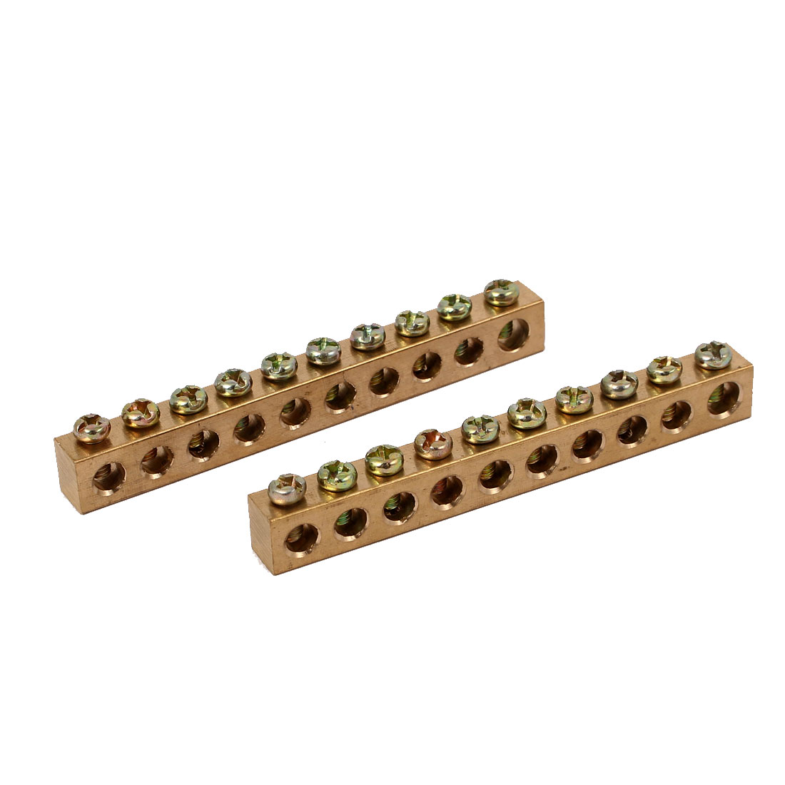10 Holes Distribution Cabinet Wire Screw Terminal Copper Neutral Bar 2pcs