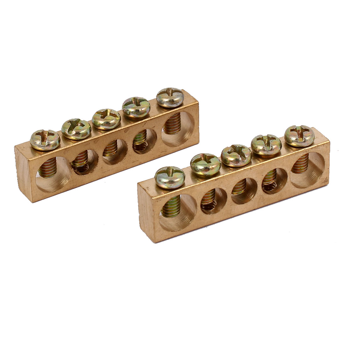 5 Positions Electric Wire Screw Terminal Ground Copper Neutral Bar 2pcs