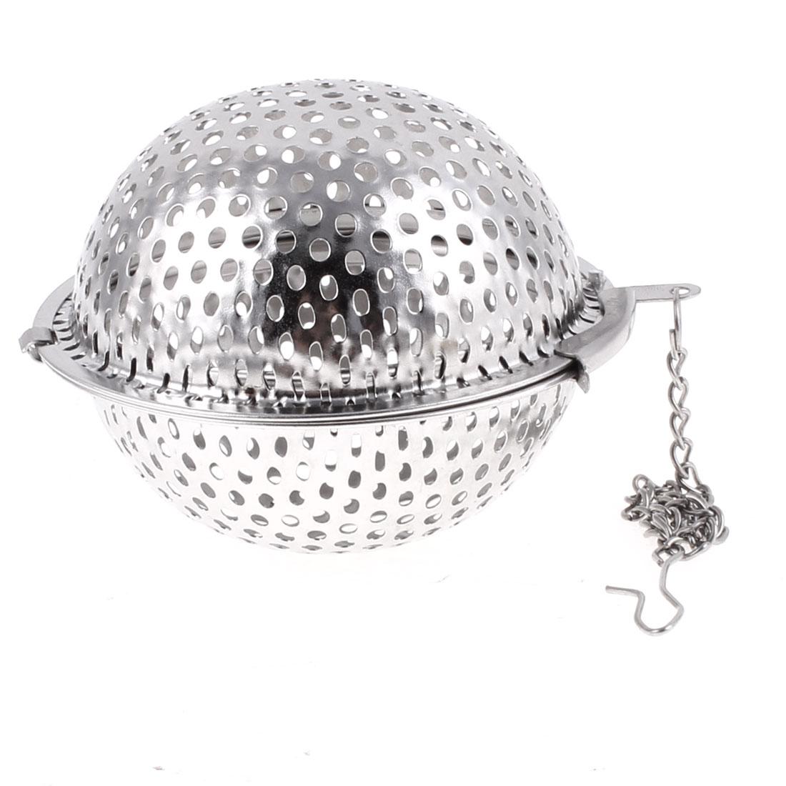 Home Aluminum Spherical Design Snap Infuser Filter Tea Strainer