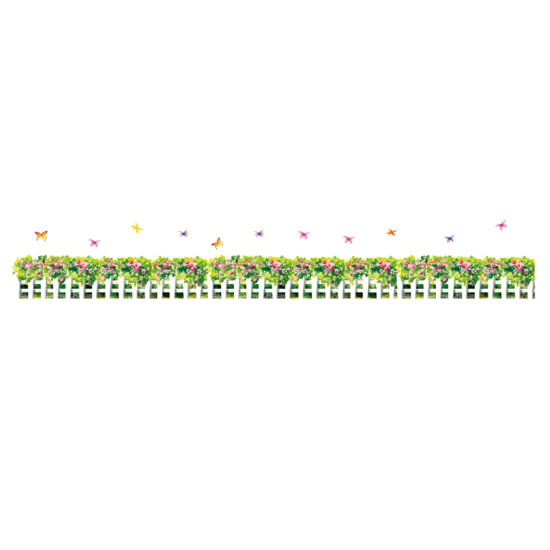 Home Living Room PVC Garden Grass Flower Pattern Wall Sticker Decal