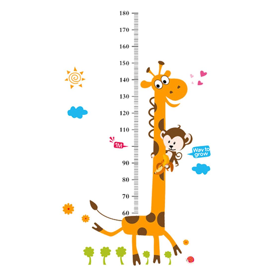 Bedroom Decor Cartoon Style Monkey Giraffe Pattern Removable Wall Sticker Decal