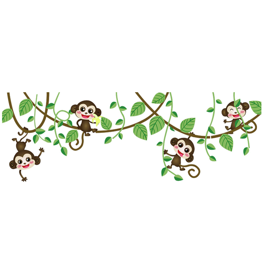 House Bedroom Decor Monkey Branches Pattern Adhesive Wall Sticker 50 x 70cm