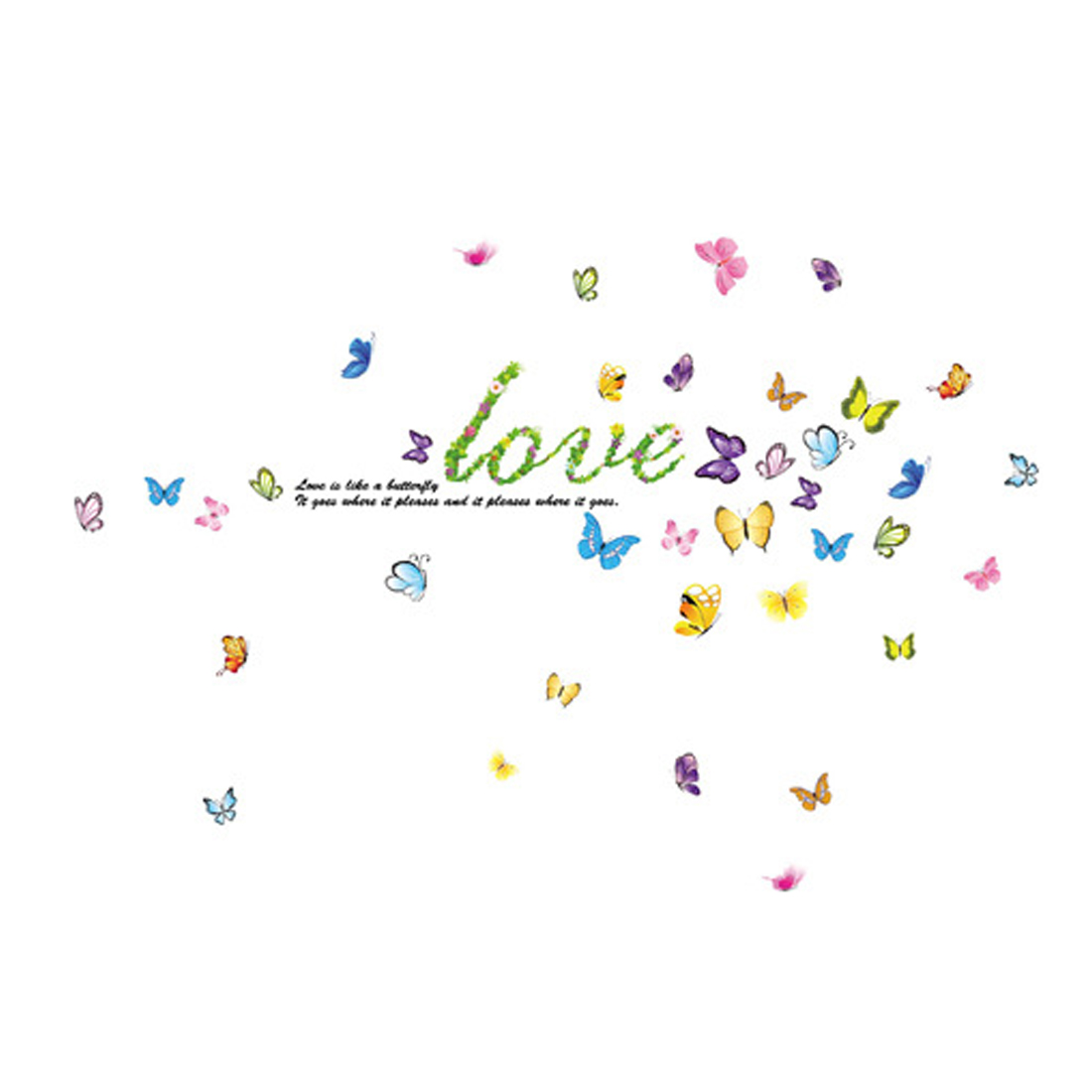 Home TV Background Butterfly Pattern Self Adhesive Wall Sticker Decal